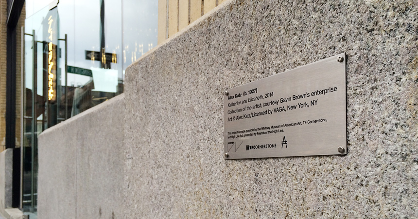 Etched stainless steel plaque for exterior artwork at the Whitney Museum, with tamper-resistant mounting